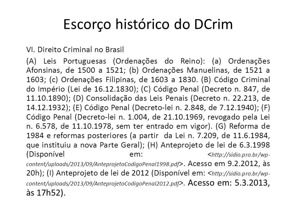 Escorço histórico do DCrim