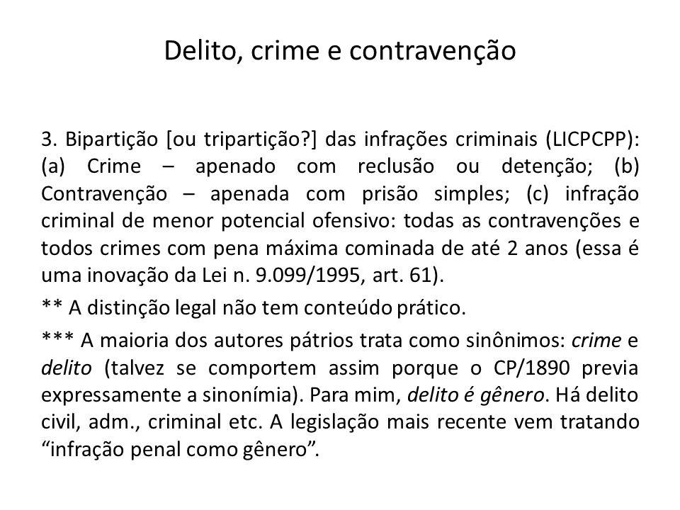 Delito, crime e contravenção