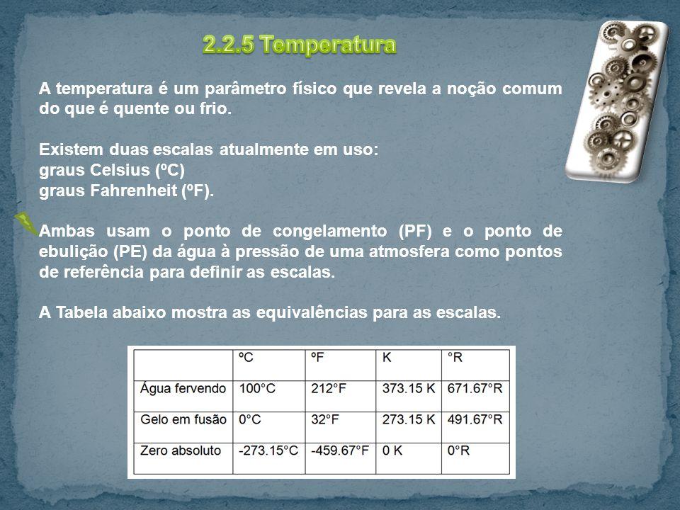 2.2.5 Temperatura A temperatura é um parâmetro físico que revela a noção comum do que é quente ou frio.
