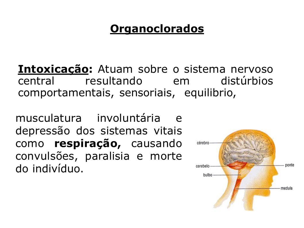 Organoclorados Intoxicação: Atuam sobre o sistema nervoso central resultando em distúrbios comportamentais, sensoriais, equilibrio,