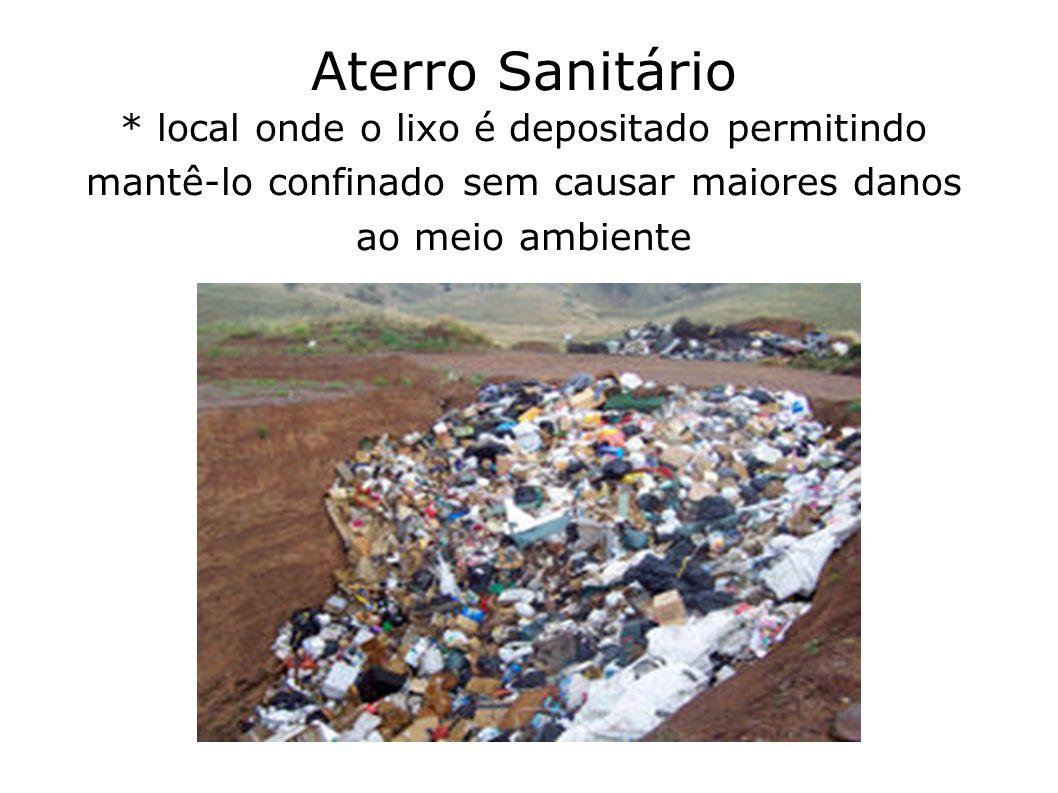 Aterro Sanitário * local onde o lixo é depositado permitindo mantê-lo confinado sem causar maiores danos ao meio ambiente