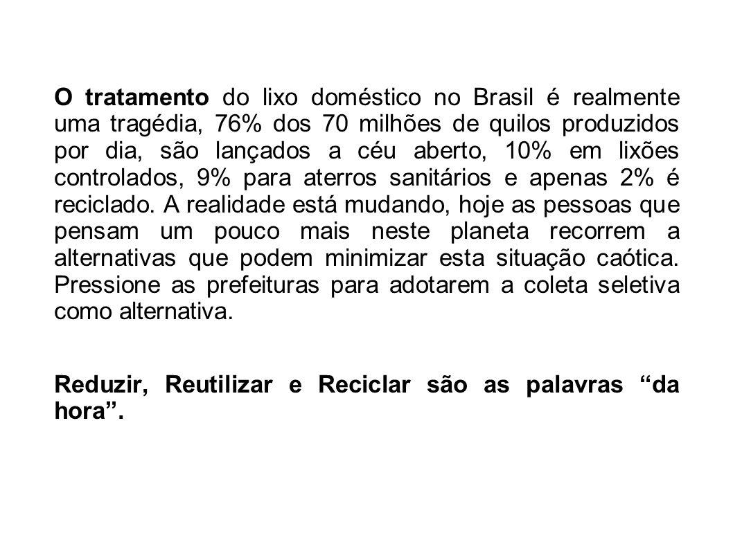 O tratamento do lixo doméstico no Brasil é realmente uma tragédia, 76% dos 70 milhões de quilos produzidos por dia, são lançados a céu aberto, 10% em lixões controlados, 9% para aterros sanitários e apenas 2% é reciclado. A realidade está mudando, hoje as pessoas que pensam um pouco mais neste planeta recorrem a alternativas que podem minimizar esta situação caótica. Pressione as prefeituras para adotarem a coleta seletiva como alternativa.