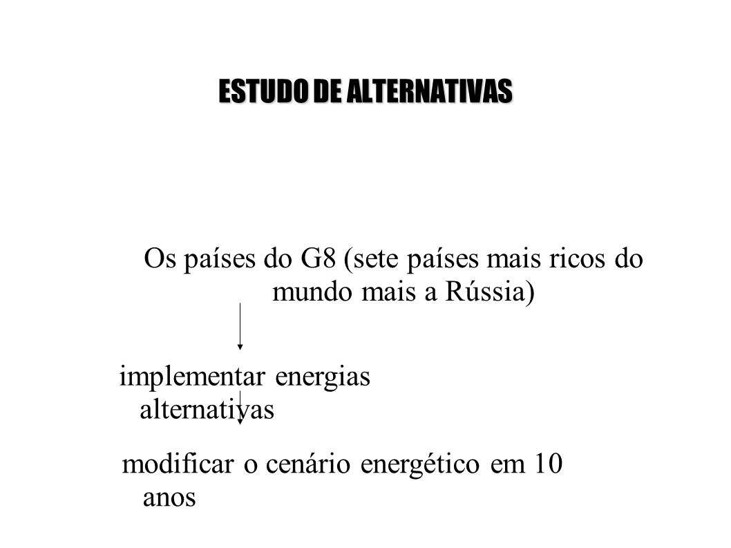 ESTUDO DE ALTERNATIVAS