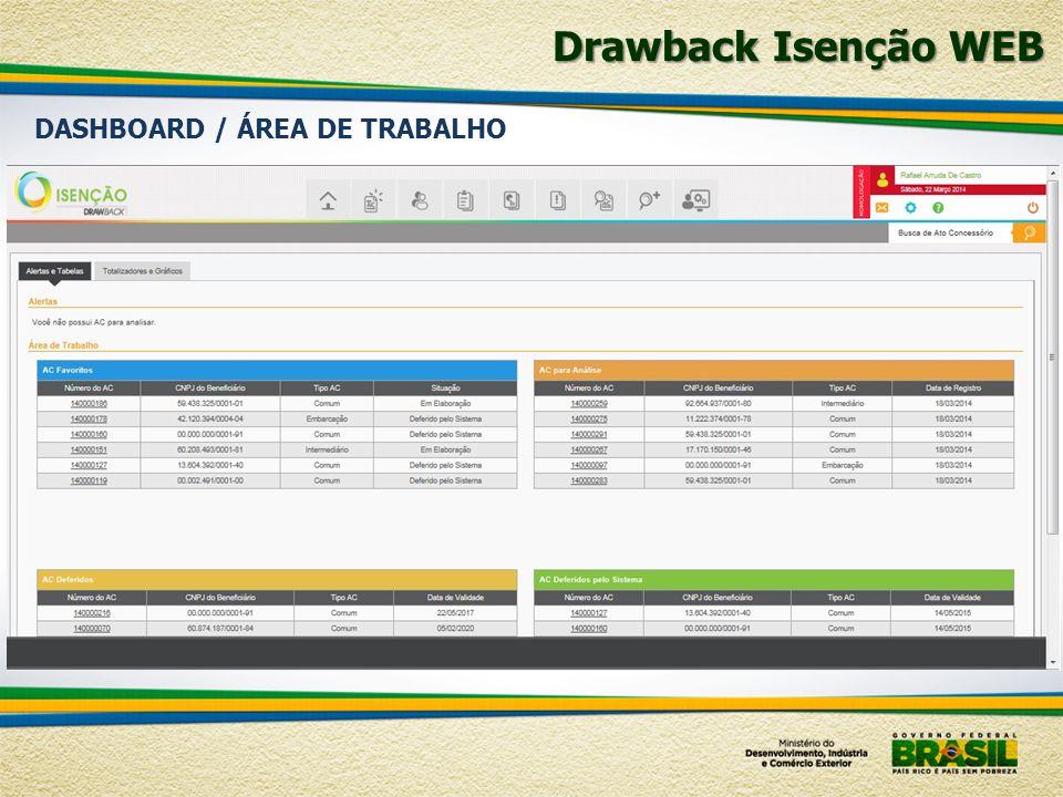 Drawback Isenção WEB DASHBOARD / ÁREA DE TRABALHO