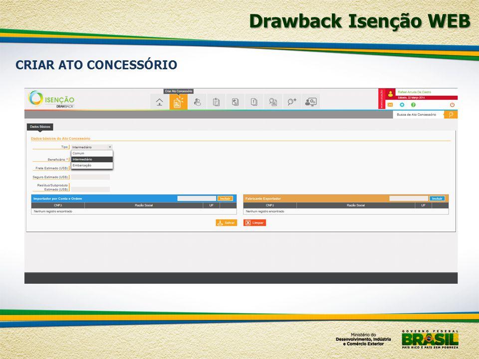 Drawback Isenção WEB CRIAR ATO CONCESSÓRIO