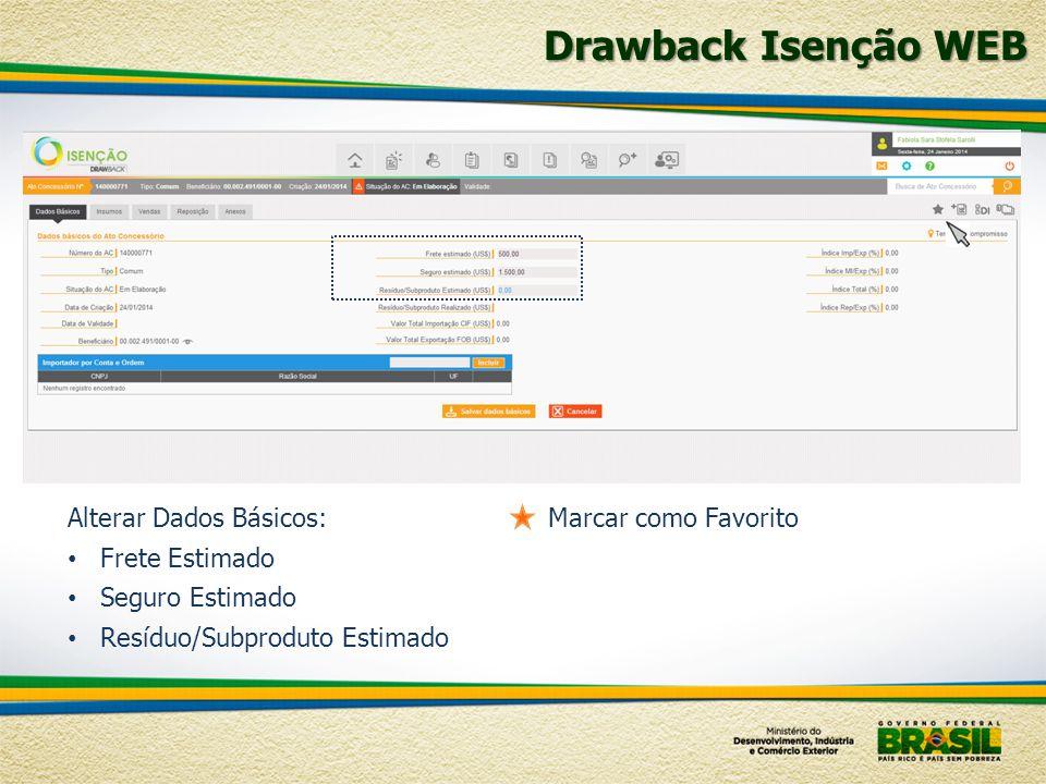 Drawback Isenção WEB Alterar Dados Básicos: Frete Estimado