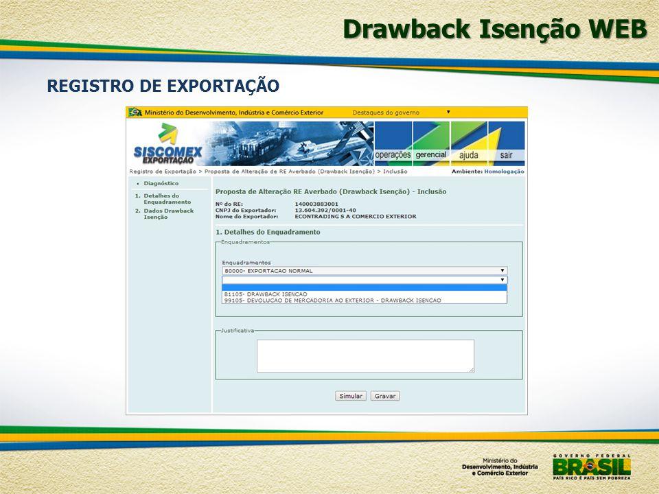 Drawback Isenção WEB REGISTRO DE EXPORTAÇÃO