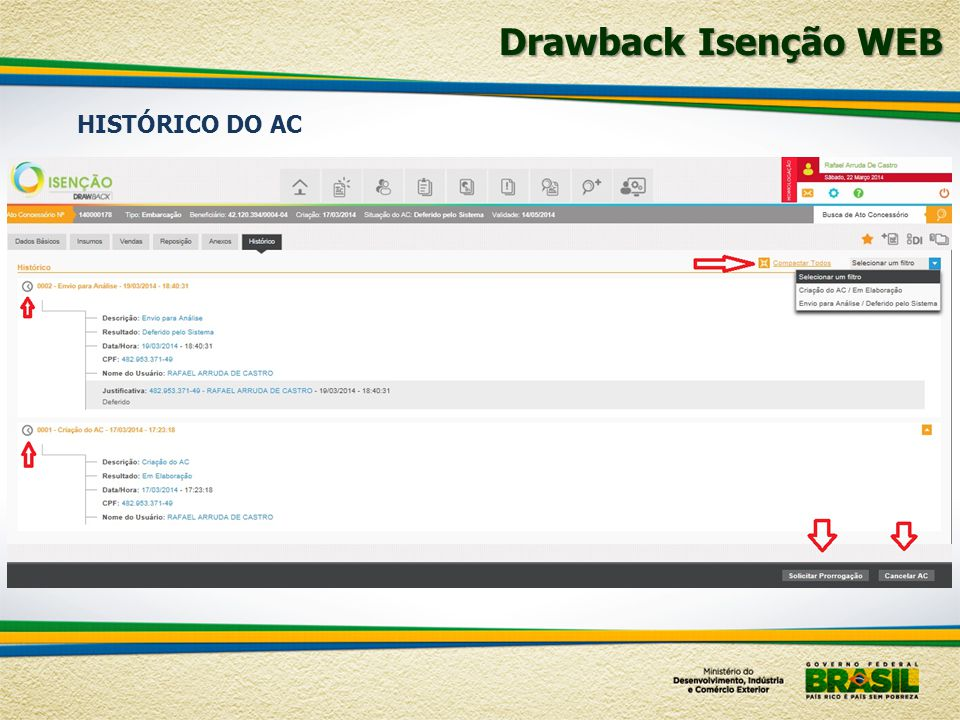 Drawback Isenção WEB HISTÓRICO DO AC