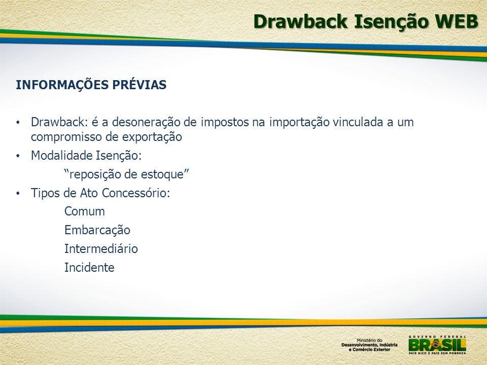 Drawback Isenção WEB INFORMAÇÕES PRÉVIAS