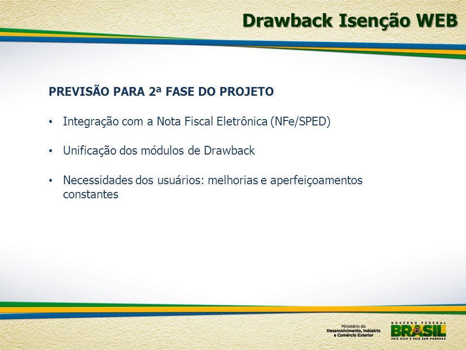 Drawback Isenção WEB PREVISÃO PARA 2ª FASE DO PROJETO