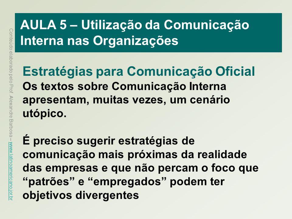 AULA 5 – Utilização da Comunicação Interna nas Organizações