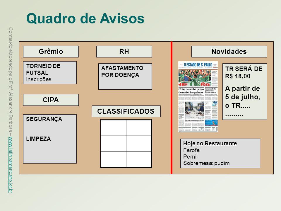 Quadro de Avisos Grêmio RH Novidades