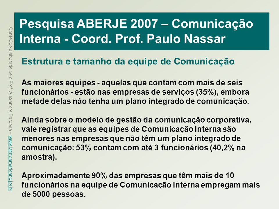 Pesquisa ABERJE 2007 – Comunicação Interna - Coord. Prof. Paulo Nassar