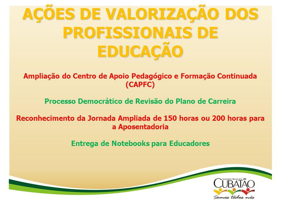 AÇÕES DE VALORIZAÇÃO DOS PROFISSIONAIS DE EDUCAÇÃO