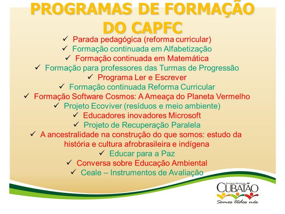 PROGRAMAS DE FORMAÇÃO DO CAPFC