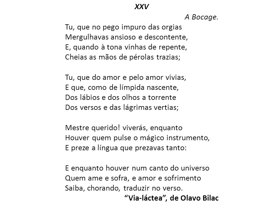 XXV A Bocage.