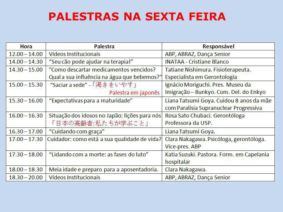 PALESTRAS NA SEXTA FEIRA
