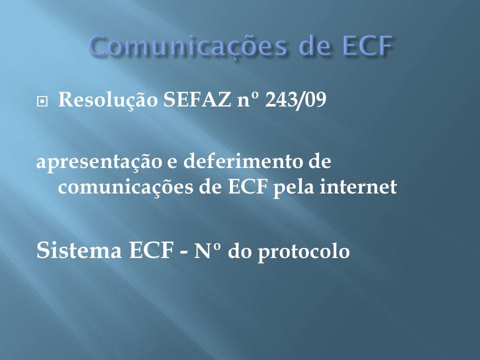 Comunicações de ECF Sistema ECF - Nº do protocolo