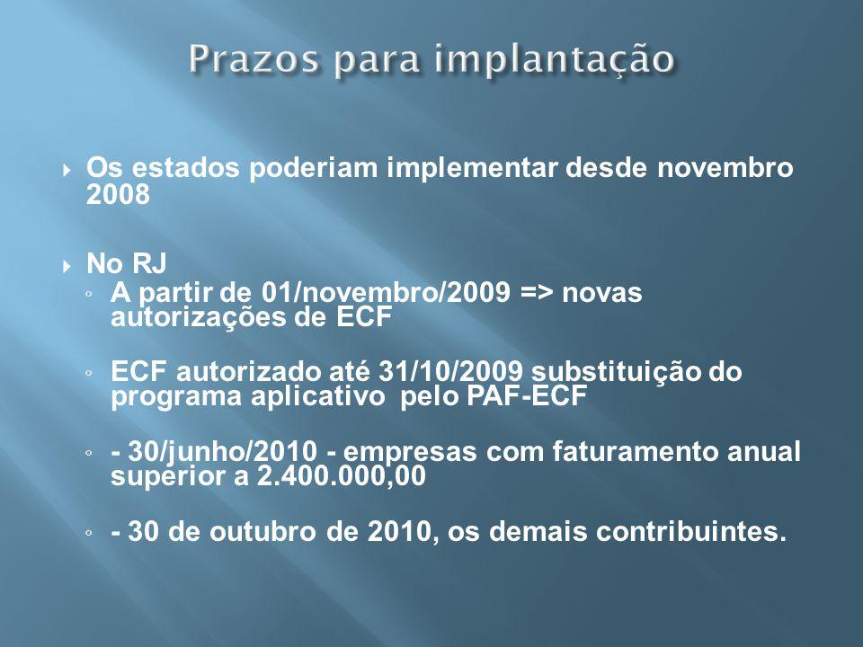 Prazos para implantação