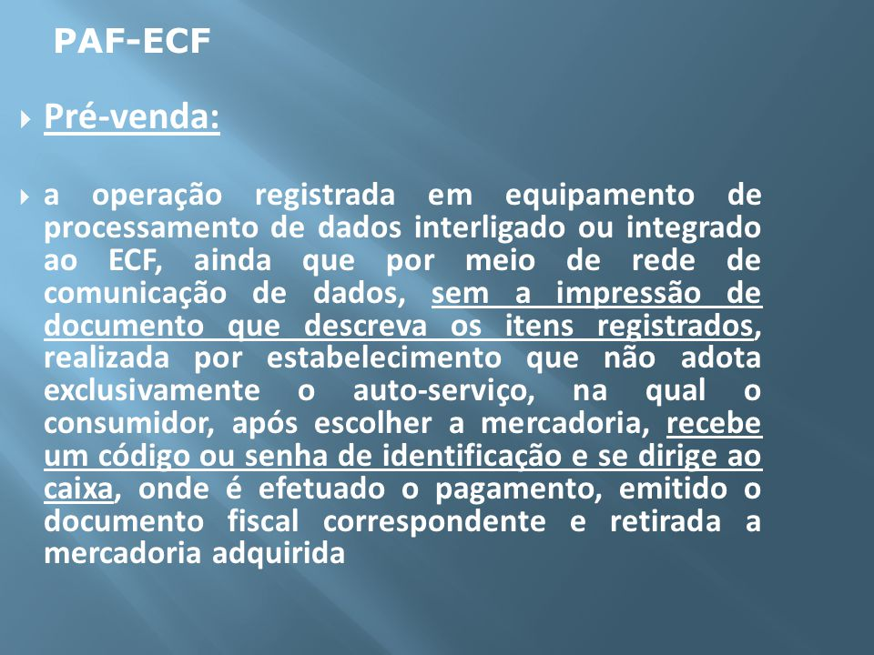 PAF-ECF Pré-venda: