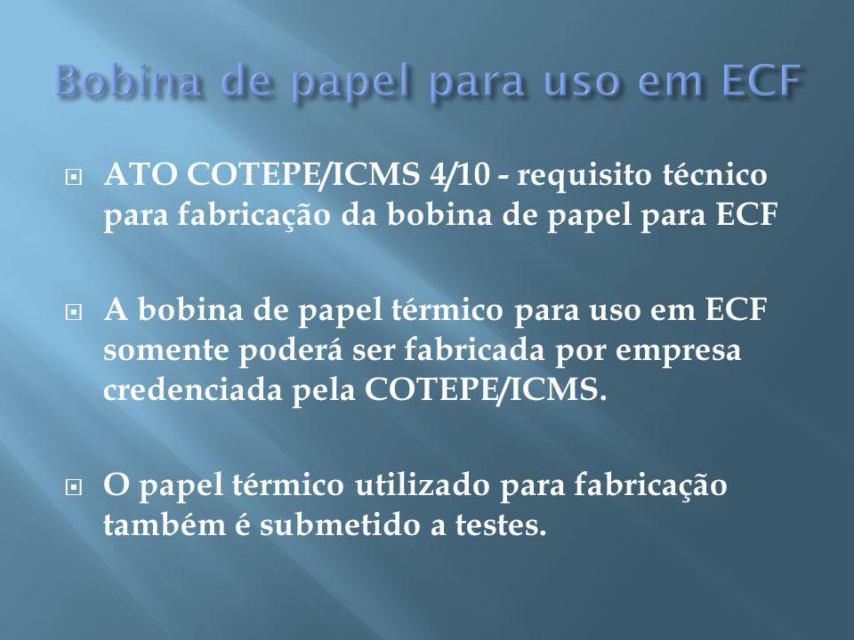 Bobina de papel para uso em ECF