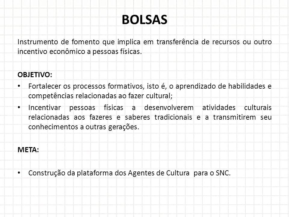 BOLSAS Instrumento de fomento que implica em transferência de recursos ou outro incentivo econômico a pessoas físicas.