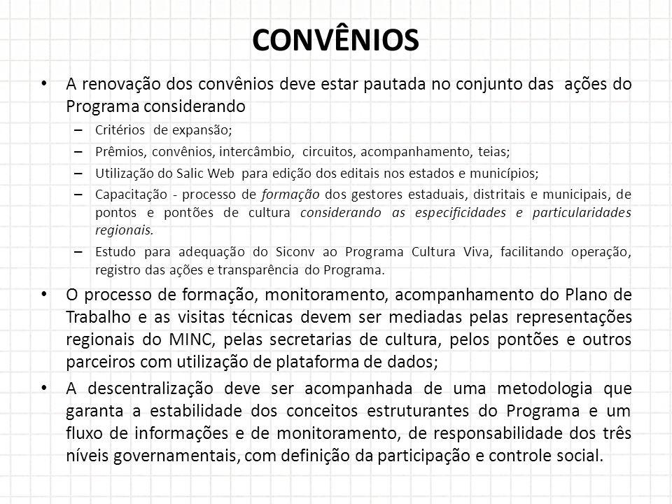 CONVÊNIOS A renovação dos convênios deve estar pautada no conjunto das ações do Programa considerando.