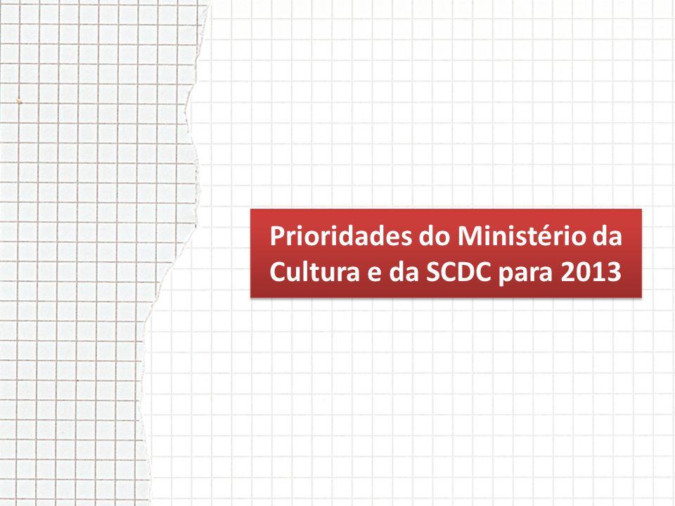Prioridades do Ministério da Cultura e da SCDC para 2013