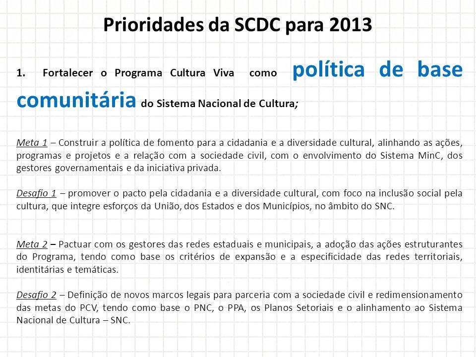 Prioridades da SCDC para 2013