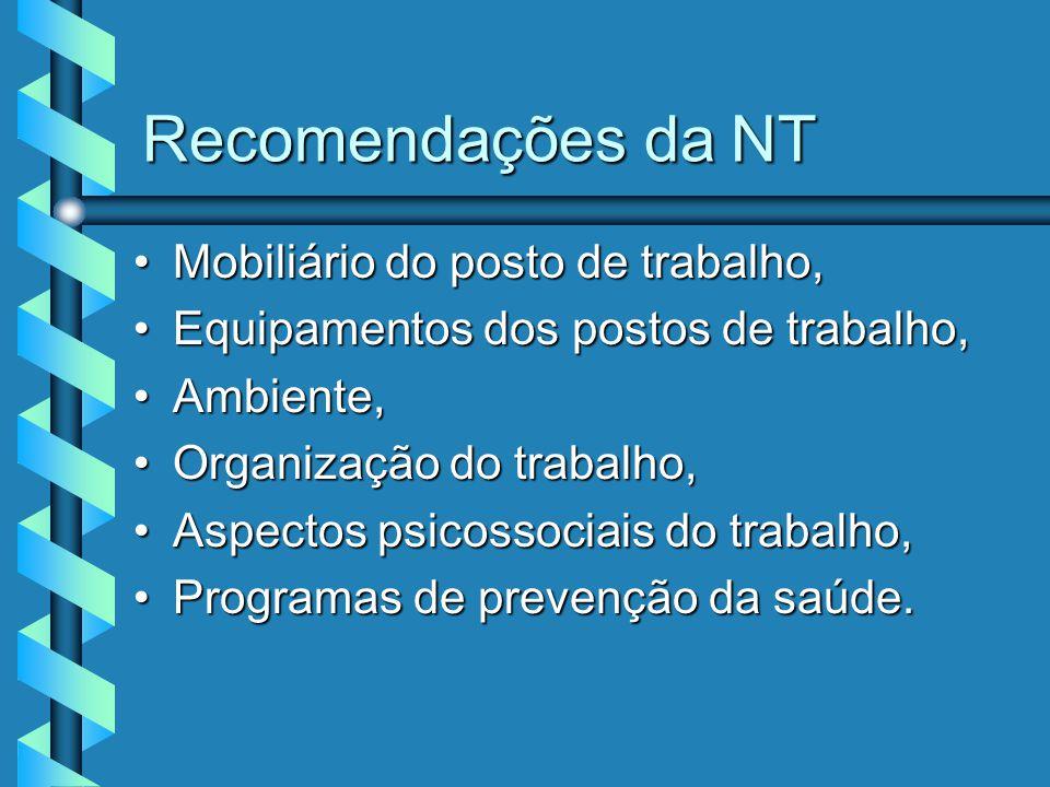 Recomendações da NT Mobiliário do posto de trabalho,