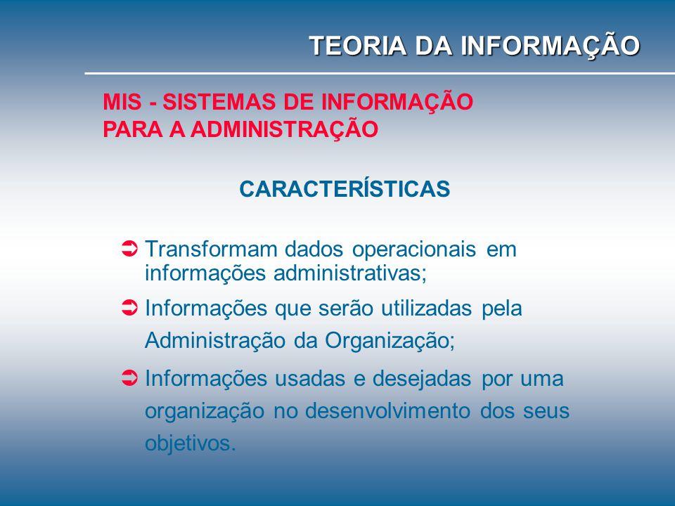 TEORIA DA INFORMAÇÃO MIS - SISTEMAS DE INFORMAÇÃO PARA A ADMINISTRAÇÃO