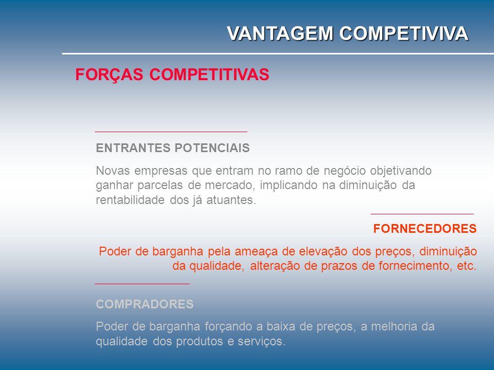 VANTAGEM COMPETIVIVA FORÇAS COMPETITIVAS ENTRANTES POTENCIAIS