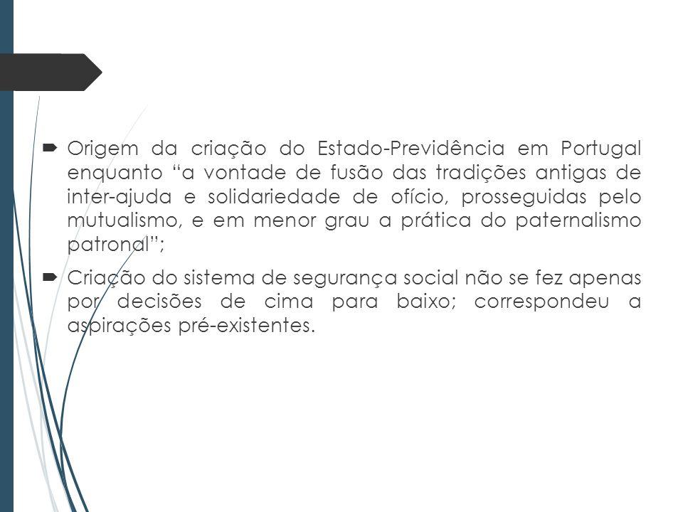 Origem da criação do Estado-Previdência em Portugal enquanto a vontade de fusão das tradições antigas de inter-ajuda e solidariedade de ofício, prosseguidas pelo mutualismo, e em menor grau a prática do paternalismo patronal ;