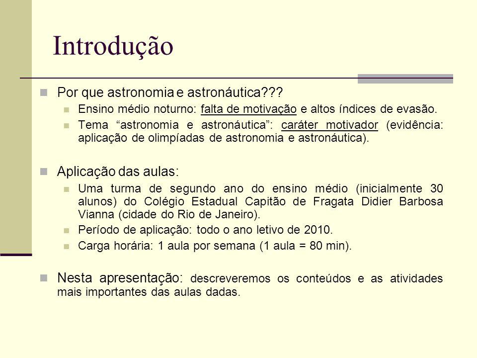 Introdução Por que astronomia e astronáutica Aplicação das aulas: