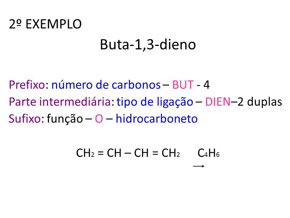 Buta-1,3-dieno 2º EXEMPLO Prefixo: número de carbonos – BUT - 4