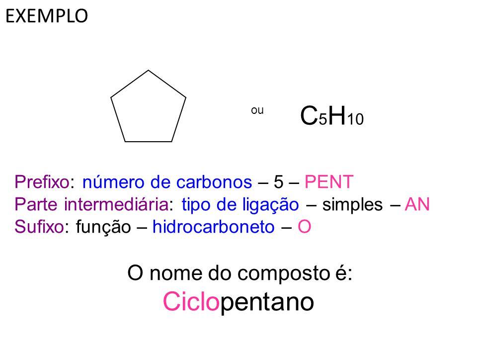 C5H10 Ciclopentano EXEMPLO Prefixo: número de carbonos – 5 – PENT