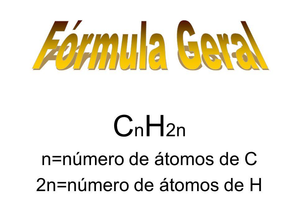 CnH2n n=número de átomos de C 2n=número de átomos de H Fórmula Geral