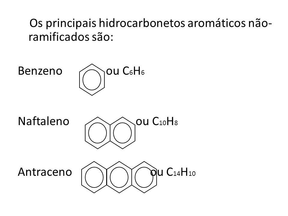 Os principais hidrocarbonetos aromáticos não-ramificados são: