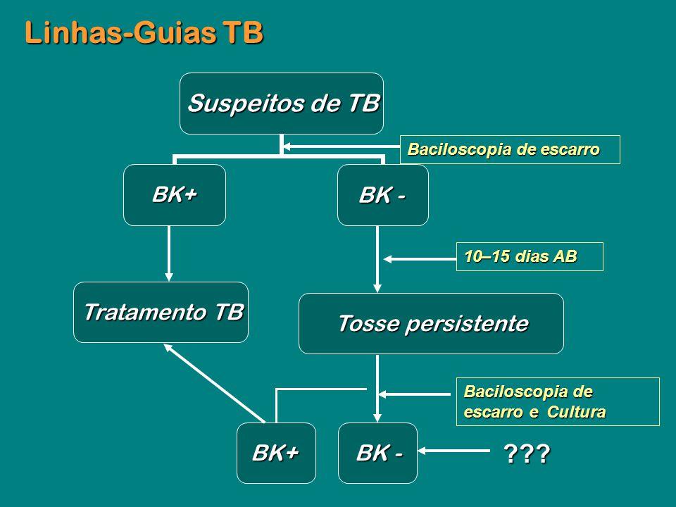 Linhas-Guias TB Tratamento TB Tosse persistente BK+ BK -