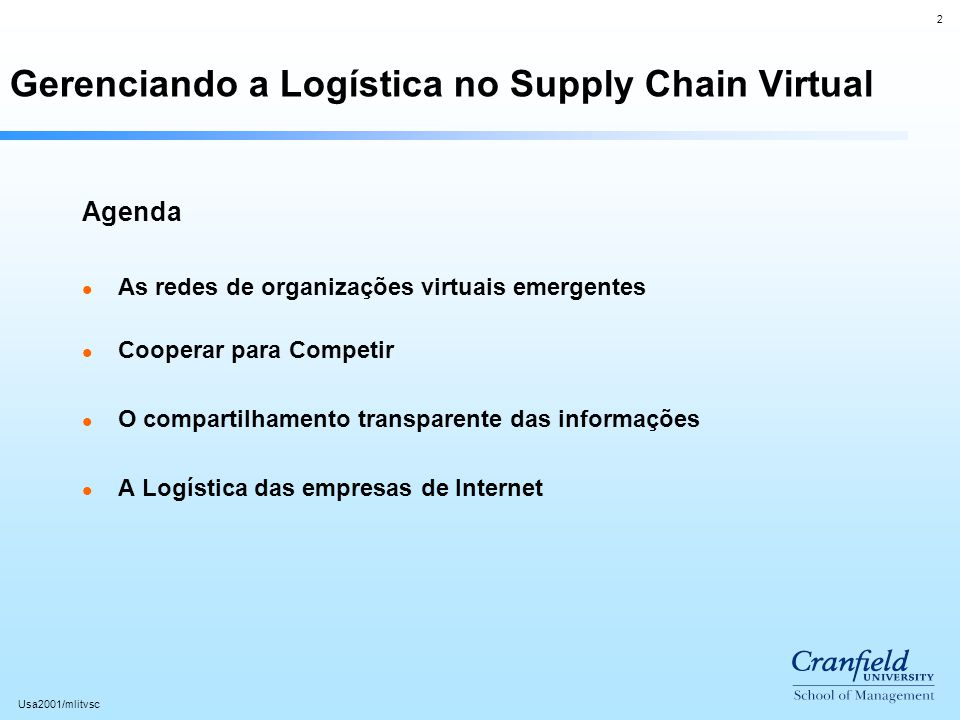 Gerenciando a Logística no Supply Chain Virtual