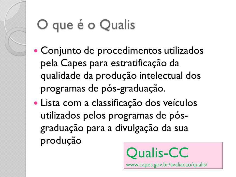 Qualis-CC O que é o Qualis
