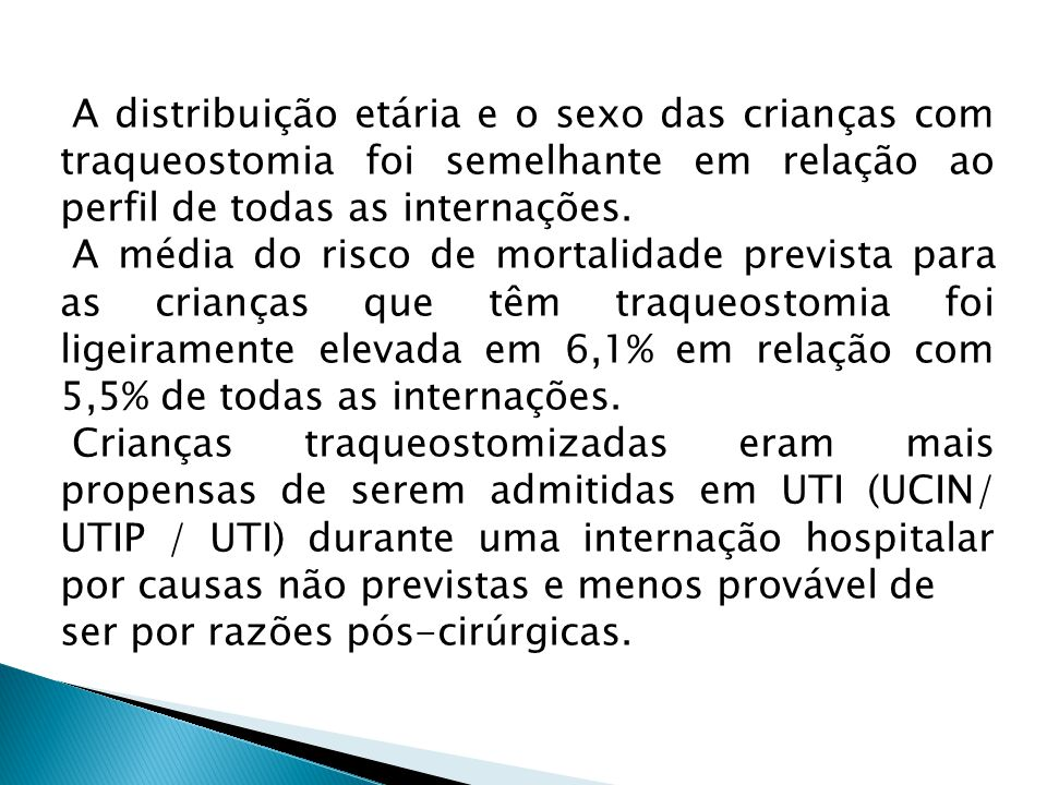 A distribuição etária e o sexo das crianças com traqueostomia foi semelhante em relação ao perfil de todas as internações.