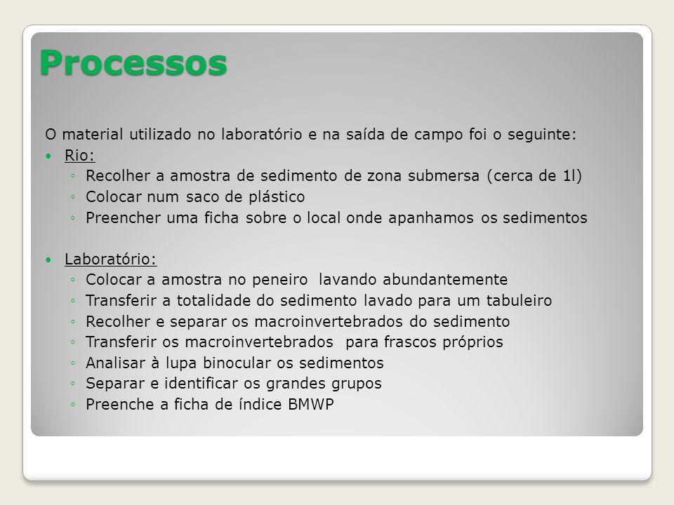 Processos O material utilizado no laboratório e na saída de campo foi o seguinte: Rio: