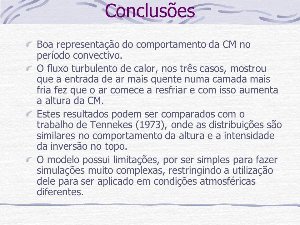 Conclusões Boa representação do comportamento da CM no período convectivo.