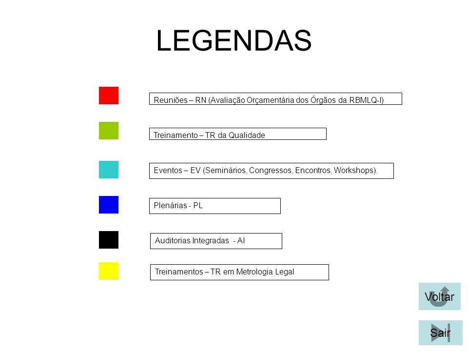 LEGENDAS Reuniões – RN (Avaliação Orçamentária dos Órgãos da RBMLQ-I) Treinamento – TR da Qualidade.