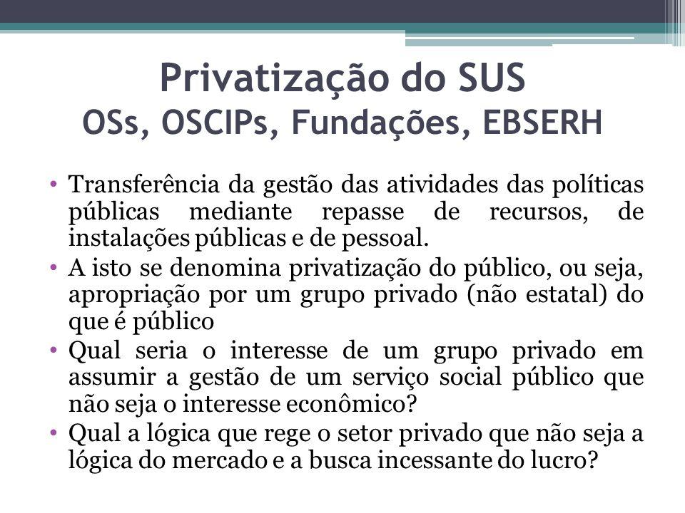 Privatização do SUS OSs, OSCIPs, Fundações, EBSERH