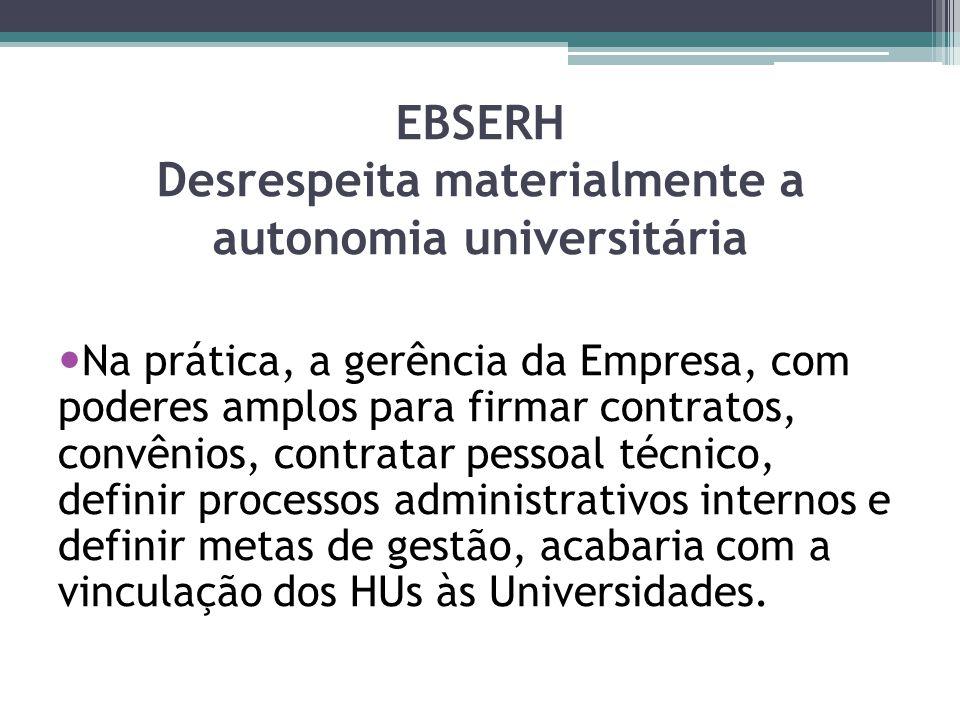 EBSERH Desrespeita materialmente a autonomia universitária