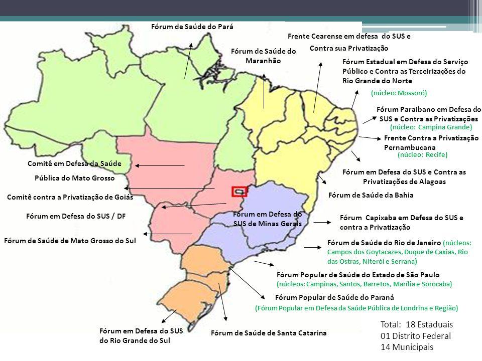 Total: 18 Estaduais 01 Distrito Federal 14 Municipais
