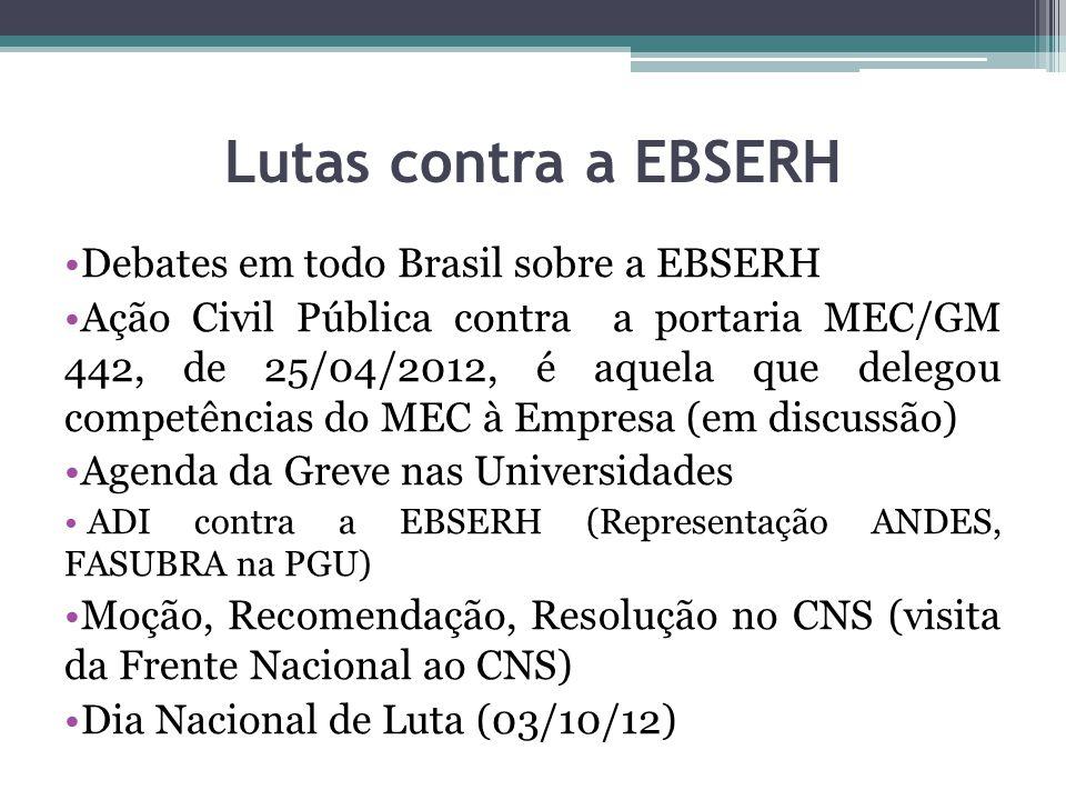 Lutas contra a EBSERH Debates em todo Brasil sobre a EBSERH