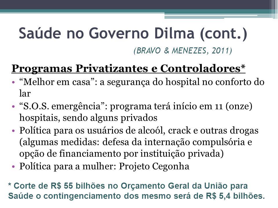 Saúde no Governo Dilma (cont.) (BRAVO & MENEZES, 2011)